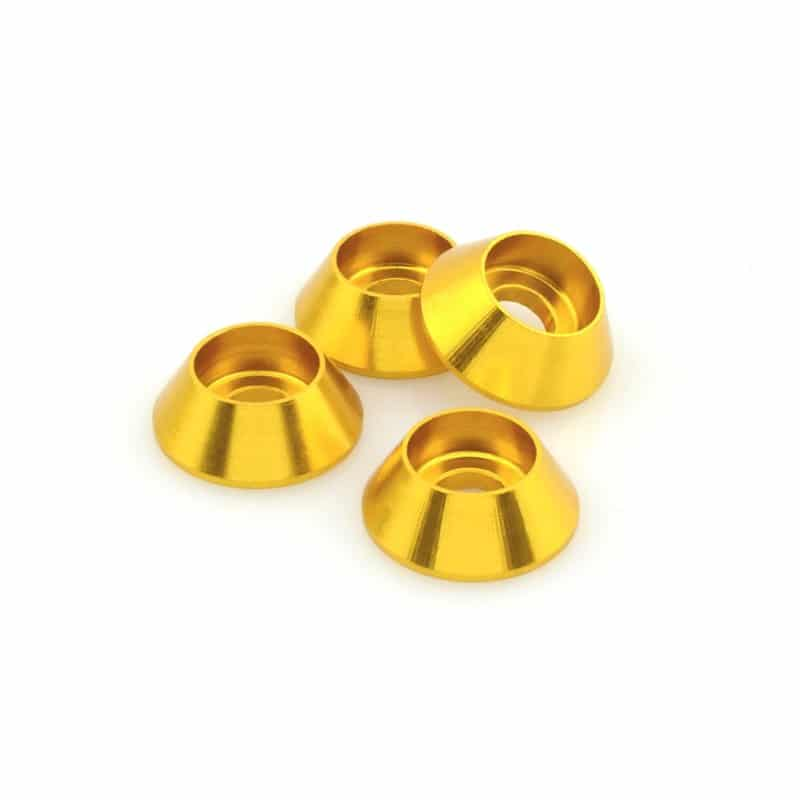 M3 Cone Washers - Gold 4 pcs | MAINFrame Customs